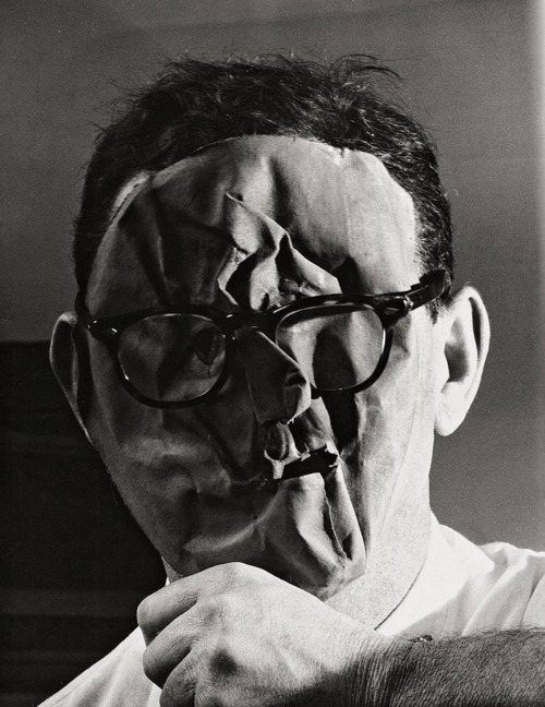 Erwin Blumenfeld, Self-Portrait with Paper Mask, New York, c. 1958