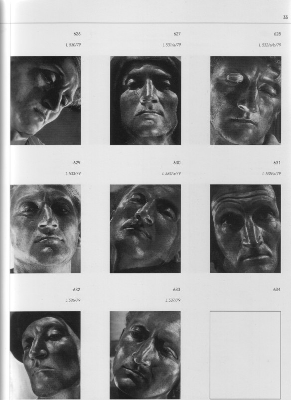 A page of Helmar Lerski facial studies, from Florian Ebner's Metamorphosen des Gesichts (with thanks to Bernhard Schulz).  Lerski achieves a close approach to Gothic statuary.