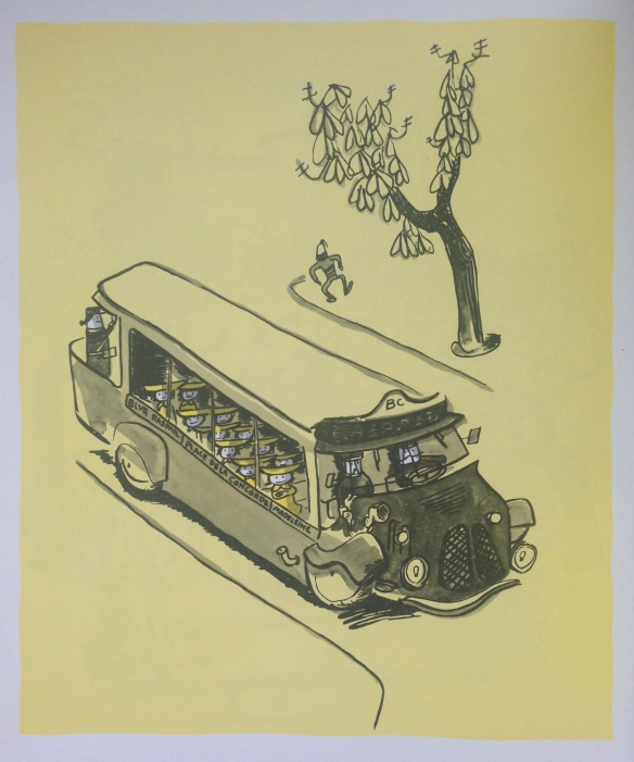 A very human kind of Paris bus, drawn by the incomparable Ludwig Bemelmans and included in his Madeline of 1939.  This in fact predates the RATP.