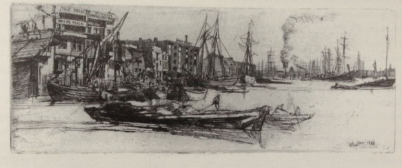 James McNeill Whistler. Thames Warehouses, 1859. Reproduced from Cooke, Gordon, Whistler on the Thames, Fine Art Society, 2013