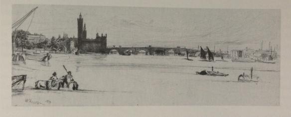 James McNeill Whistler. Old Westminster Bridge, 1859. Reproduced from Cooke, Gordon, Whistler on the Thames, Fine Art Society, 2013