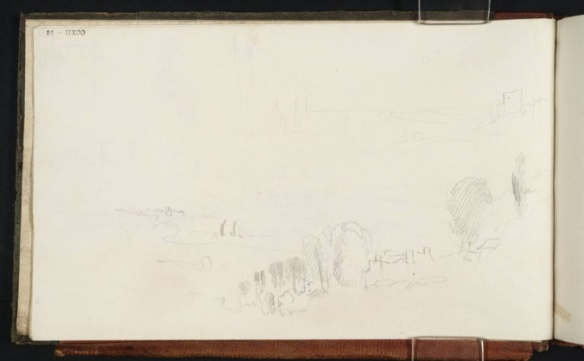 Joseph Mallord William Turner (1775 1851)  Thames at Richmond From Thames Sketchbook,  Turner Bequest CCXII Date c.1825 Courtesy Tate