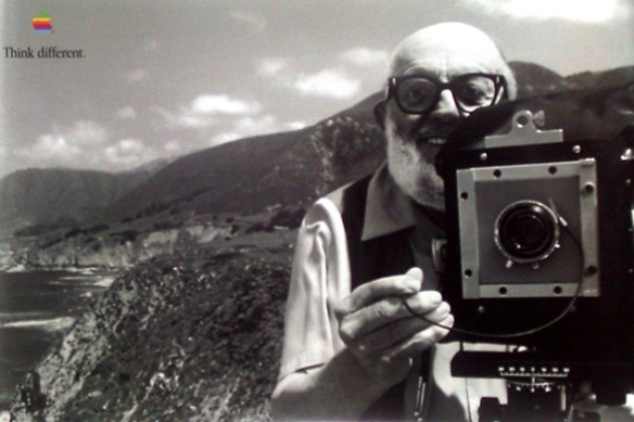 Ansel Adams, as seen in Apple's widely lauded 'Think Different' campaign which ran from 1997. That campaign specifically associated Adams with Muhammad Ali, Albert Einstein, Pablo Picasso, and a host of other greats. And Jim Henson. Ansel Adams is one of the very few photographers to have a mountain named after him. ( you can't countLord Snowdon - he was named after the mountain.