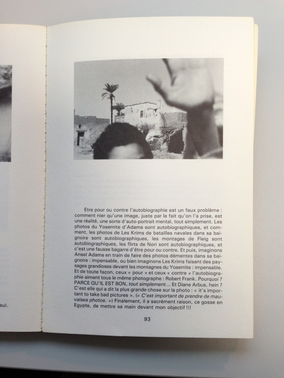 A page from Les Cahiers de la Photographie, 1984.  The picture reproduced was made by Plossu  in Egypt in 1977.