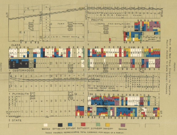 Florence Kelley - Hull House Map of Poverty in Chicago - brothels on clark Street