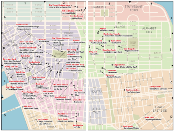 Map of locations of record covers in Greenwich Village and East Village