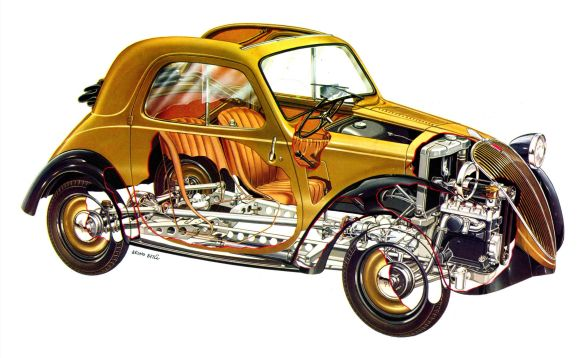 Modern cutaway drawing by Bruno Betil of 1936 Topolino
